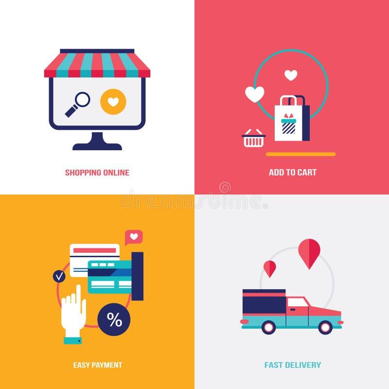 Departamento en línea Fije de los iconos planos del diseño para su negocio Compras, pago fácil y concepto rápido de la entrega stock de ilustración