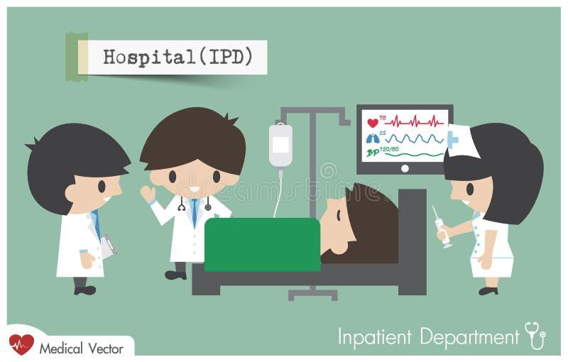 Departamento hospitalizado en hospital stock de ilustración