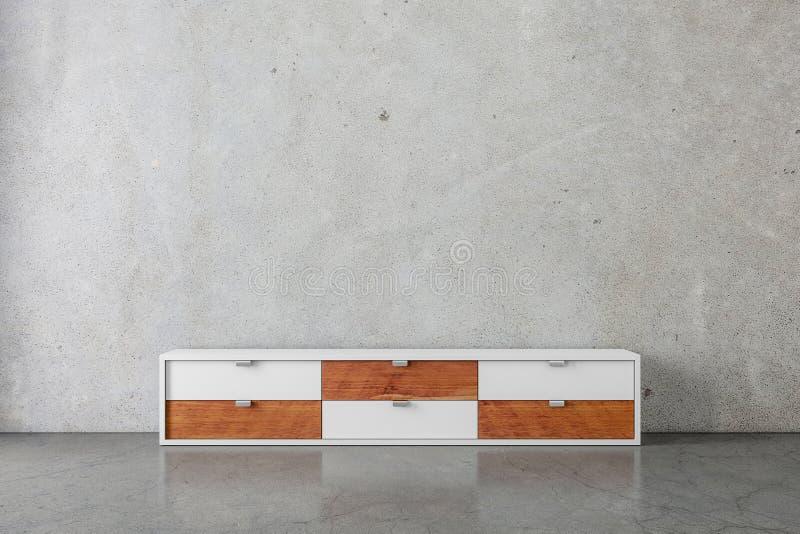Departamento ou modelo moderno do console da tevê na sala concreta vazia ilustração royalty free