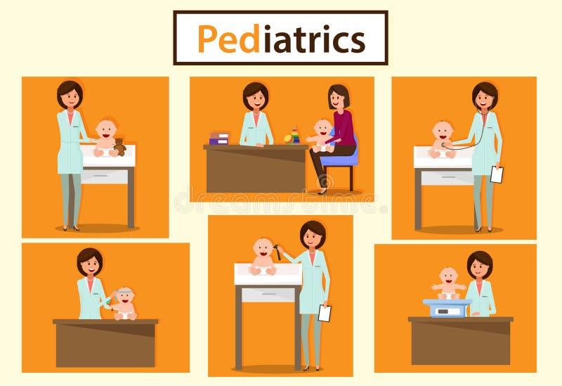 Departamento pediátrico Pediatra Consultation stock de ilustración