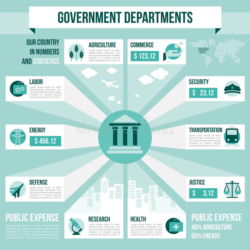 Departamentos gubernamentales stock de ilustración