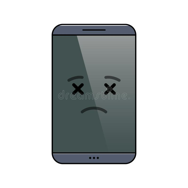 Departed mobile phone isolated emoticon vector illustration