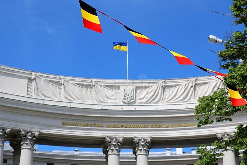 Departement av utrikespolitik och flaggor av Tyskland under dagarna av Europa i Ukraina, Kyiv, Ukraina royaltyfri fotografi