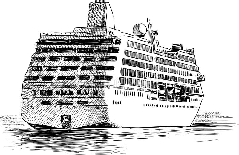 Download Departing cruise ship stock photo. Image of sketch, destinations - 32356584