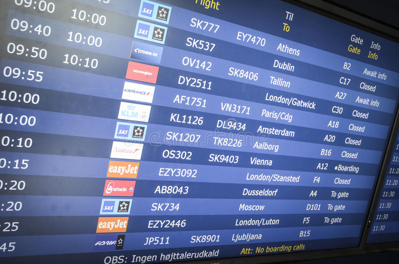 Departing flight information stock photography