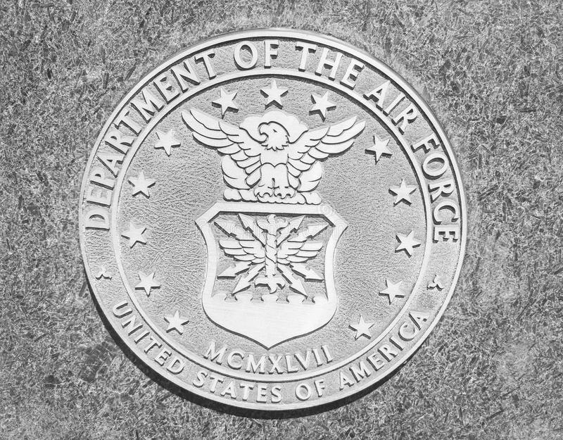 Department of the Air Force USA stone seal. In Purgatory Park royalty free stock images