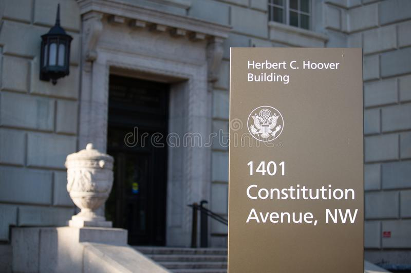 Department of Commerce Herbert C. Hoover Building. Department of Commerce Headquarters Herbert C. Hoover Building Entry with sign royalty free stock images