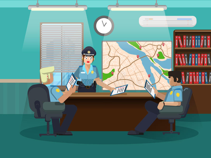 Department of internal investigations. Develop an action plan. Three policemen in the office at the table. Vector illustration of a department of internal royalty free illustration