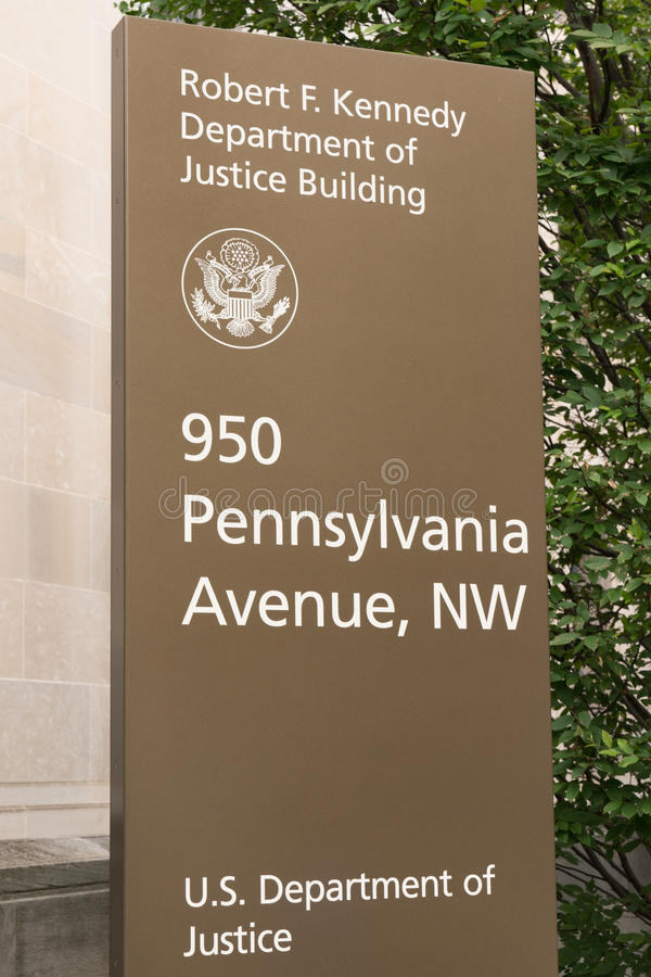 Department of Justice Sign. WASHINGTON, DC - JULY 12: Robert F. Kennedy Department of Justice sign in Washington, DC on July 12, 2017 royalty free stock image