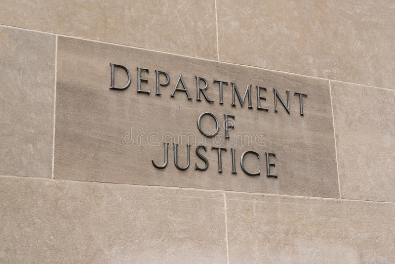 Department of Justice Sign stock photos