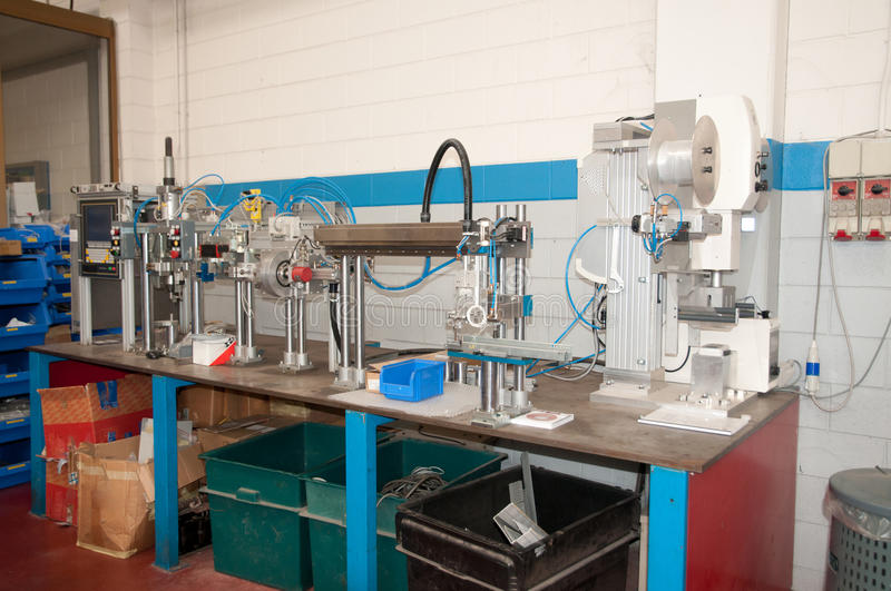 Department R&D - Building line for automation. Department R&D - Building line e machine for automation. n this plant are builds machines and modules for the royalty free stock images