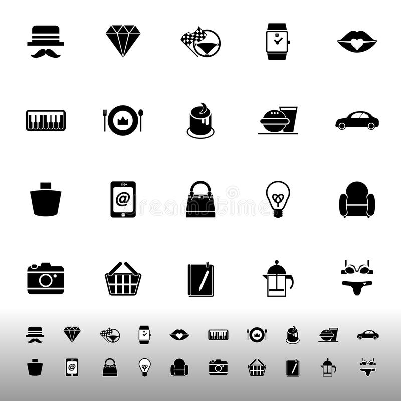 Department store item category icons on white background royalty free illustration