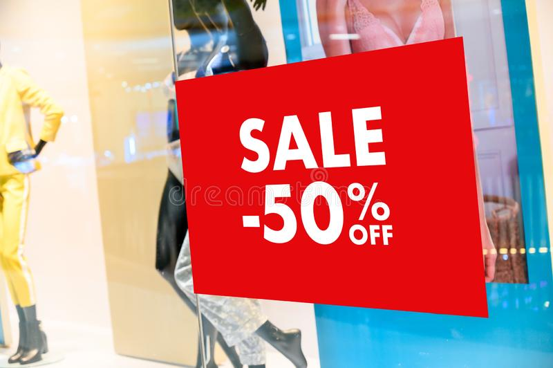 Department store with sale discount sign in shop  Sale sign Sale concept. Department store with sale discount sign in shop  Sale sign  Sale concept stock photos