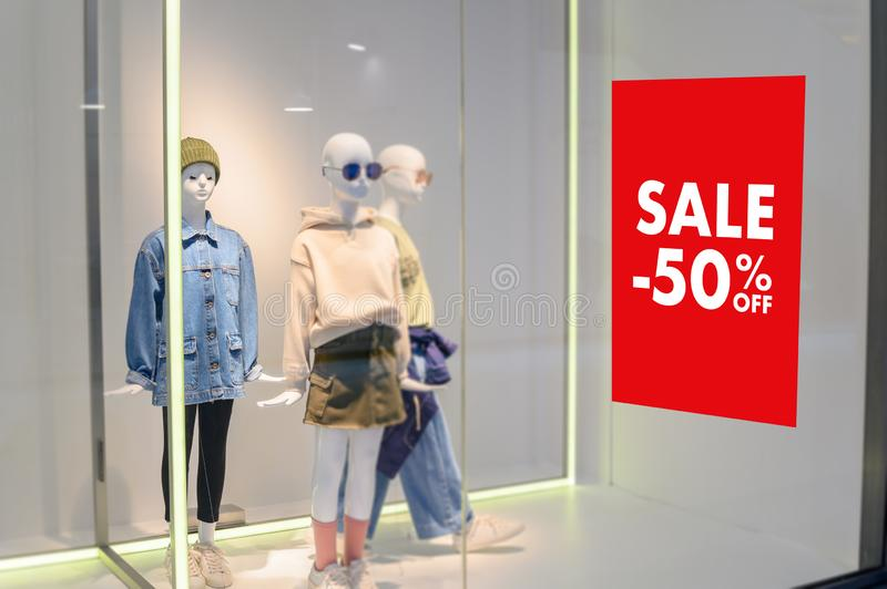 Department store with sale discount sign in shop  Sale sign Sale concept. Department store with sale discount sign in shop  Sale sign  Sale concept royalty free stock photos