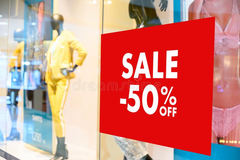 Department store with sale discount sign in shop  Sale sign Sale concept. Department store with sale discount sign in shop  Sale sign  Sale concept royalty free stock images