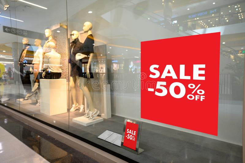 Department store with sale discount sign in shop  Sale sign Sale concept. Department store with sale discount sign in shop  Sale sign  Sale concept stock images