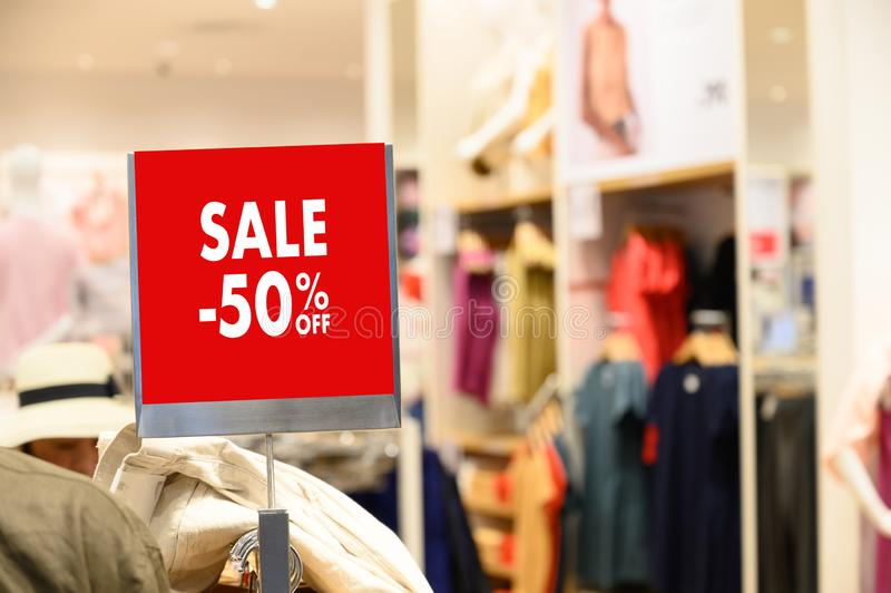 Department store with sale discount sign in shop  Sale sign Sale concept. Department store with sale discount sign in shop  Sale sign  Sale concept stock photography