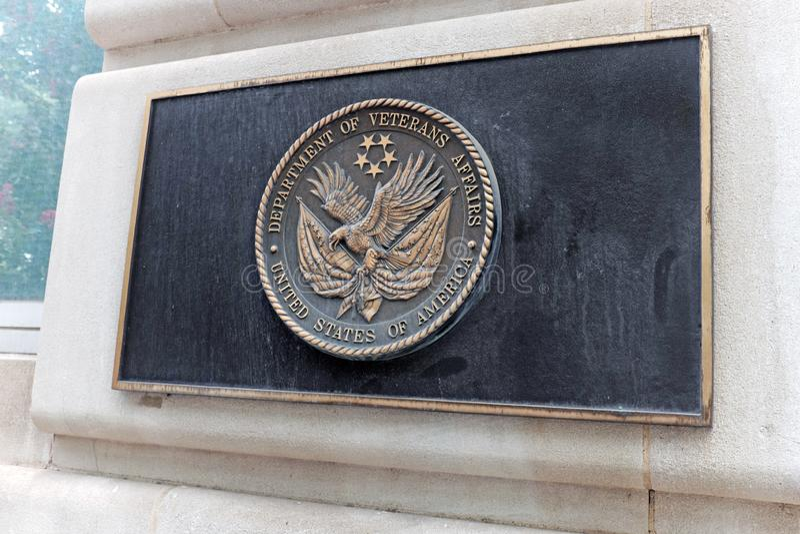 Department of Veterans Affairs emblem on the VA headquarters in Washington DC, royalty free stock photos