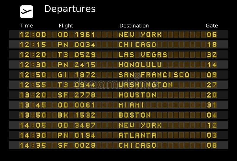 Departure board vector illustration