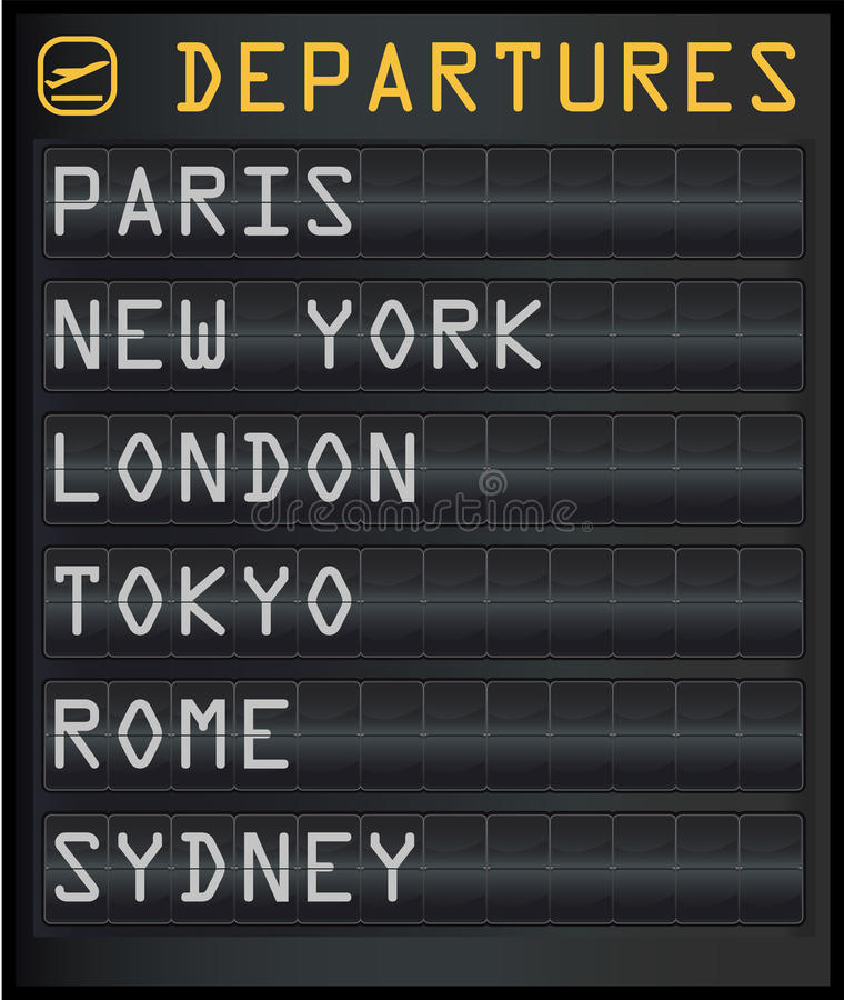 Departure board royalty free illustration