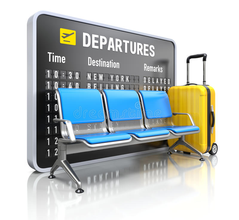 Departure board with airport seating stock illustration