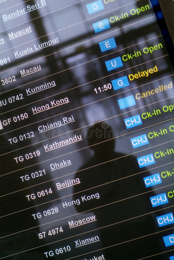 Departure Board At Asian Airport Royalty Free Stock Images