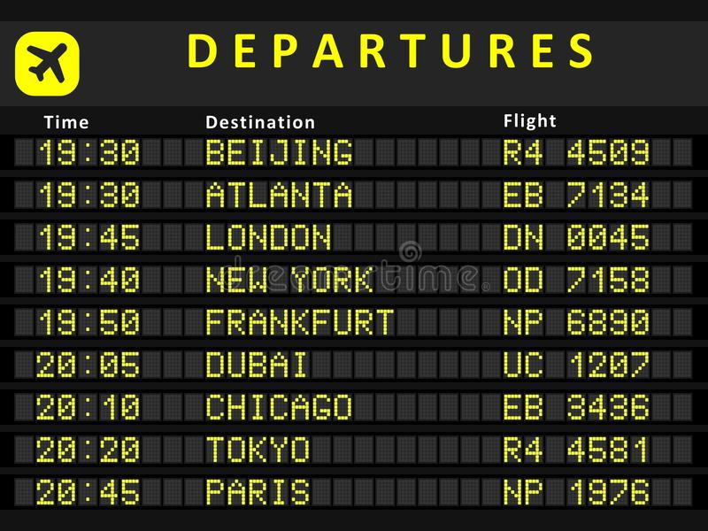 Departure board. Destination airports. Busiest airports in the world: Beijing, Atlanta, London, New York, Frankfurt, Dubai, Chicago, Tokyo and Paris vector illustration