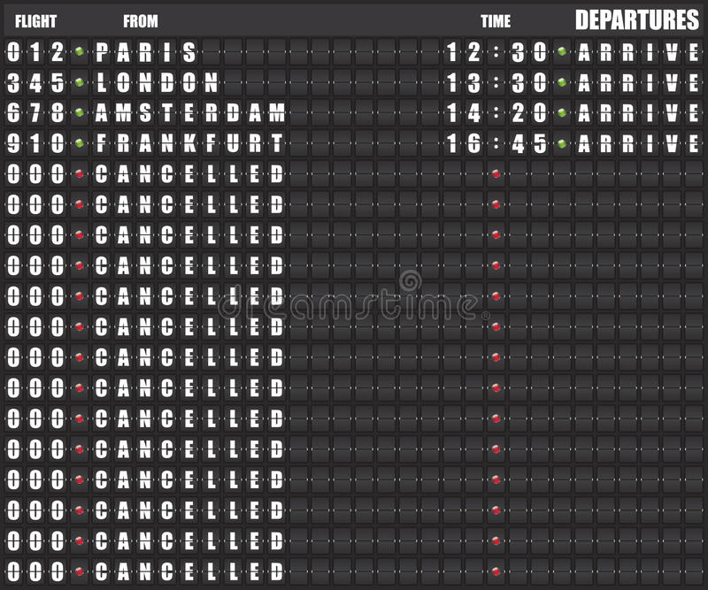 Departure board - destination airports illustration. On black background stock illustration