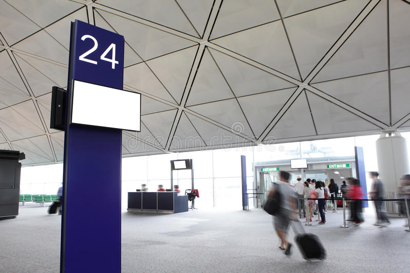 Departure gate with rush passenger moving royalty free stock images