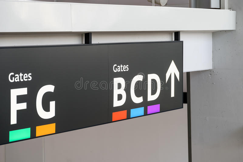 Departure Gates Signs In Airport. Terminal stock image