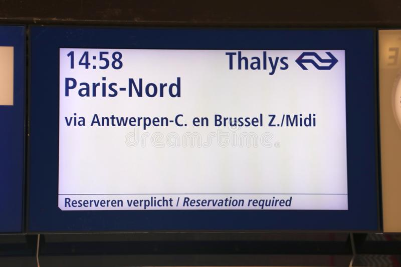 Departure information board of the thalys train on Rotterdam Central Station to Antwerp, Brussels and Paris stock photography