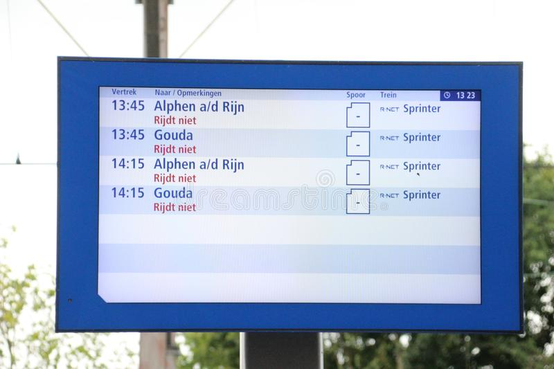 Departure information display with all cancelled departures at Boskoop Station for the R-NET between Gouda and Alphen aan den Rijn stock image