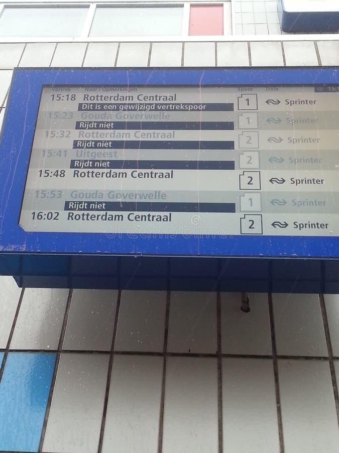 Departure information display at station Nieuwerkerk aan den IJssel stock images