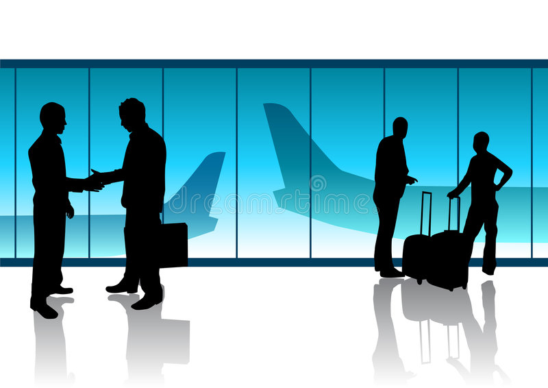 Departure Lounge. People in a departure lounge in an airport stock illustration