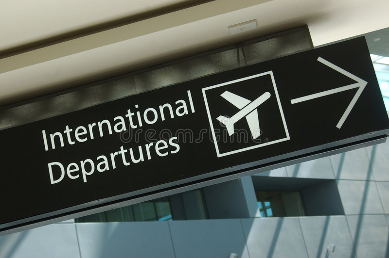 Departure sign. Signage for international departures at airport royalty free stock image