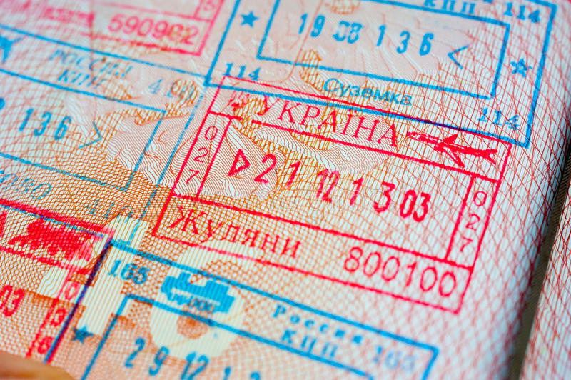 Departure stamp. Immigration stamps in the passport royalty free stock photography