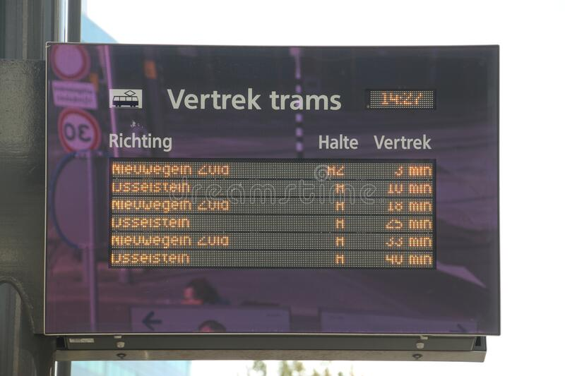 Departure times of the SIG fast street cars named sneltram in the town of Utrecht runned by Qbuzz royalty free stock image