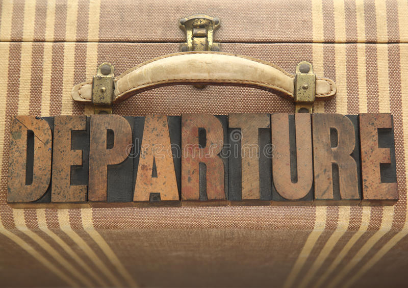 Download Departure Word On Old Luggage Stock Image - Image of vintage, handle: 24781221