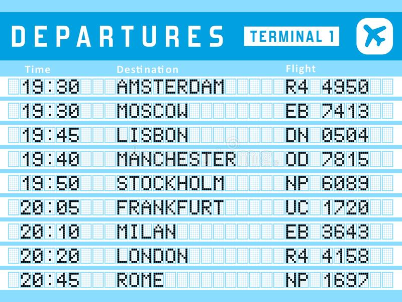 Departures vector. Airport timetable - departure board vector illustration. Travel sign. Flights to Amsterdam, Moscow, Lisbon, Stockholm and Frankfurt royalty free illustration