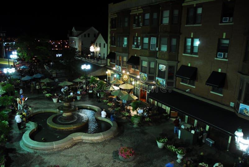 DePasquale广场,上帝,罗德岛州在晚上 库存图片