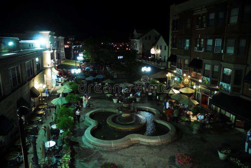 DePasquale广场,上帝,罗德岛州在晚上 库存照片