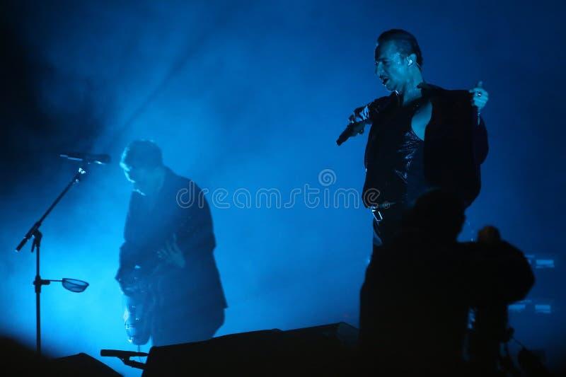 Depeche Mode. Vocalist Dave Gahan during Depeche Mode concert in Sao Paulo, Brazil. 03/27/2018 stock image