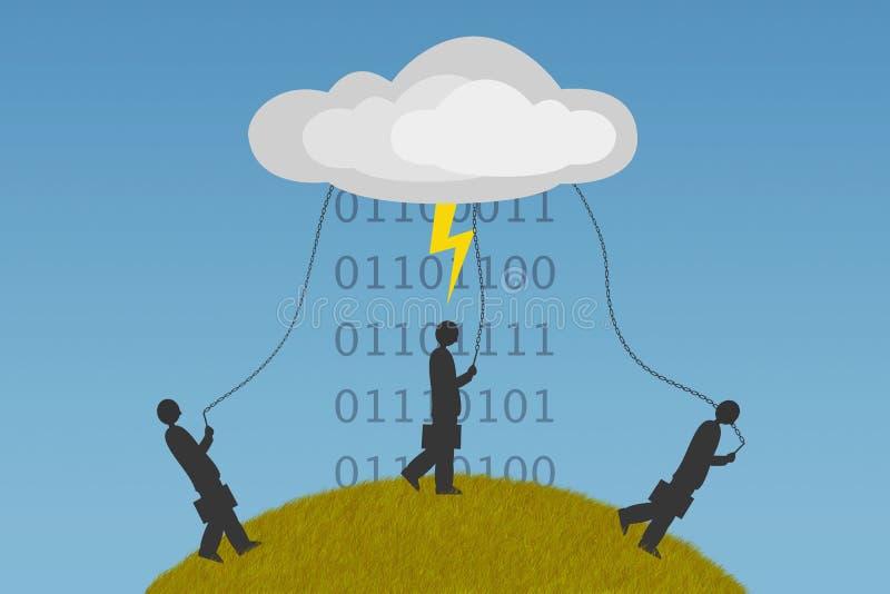 Dependencia computacional de la nube stock de ilustración