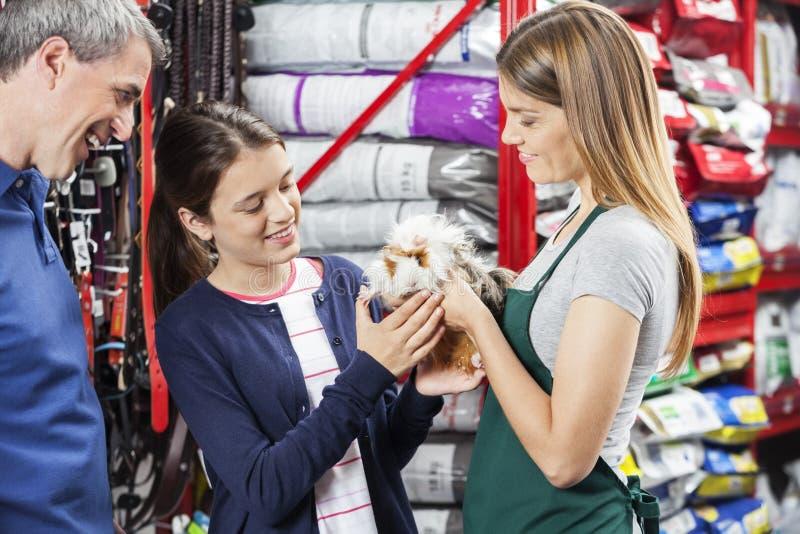 Dependienta Giving Guinea Pig a la muchacha en la tienda foto de archivo libre de regalías