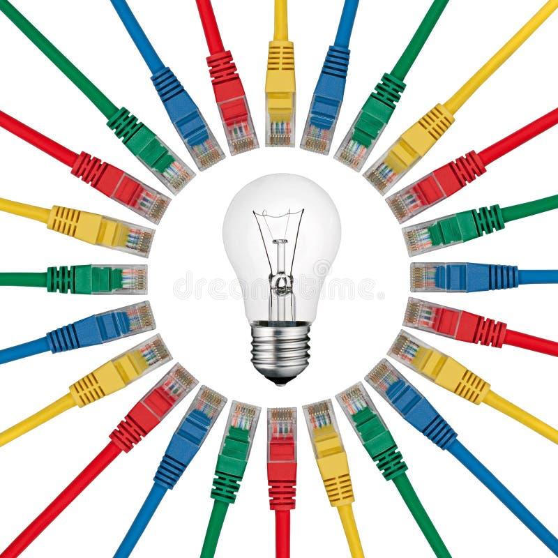 depeszuje lightbulb sieci rozwiązania royalty ilustracja