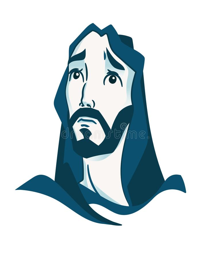 Depicted Jesus Christ, the founder of the Christian religion, raising his eyes to heaven in prayer. royalty free illustration