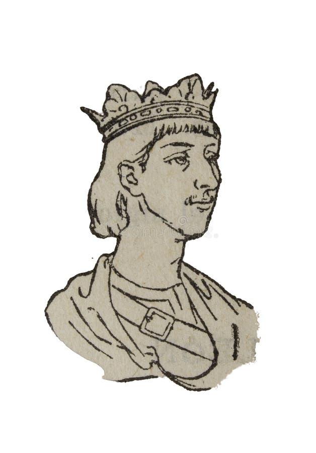 Depiction of Ferdinand III of Castile, The Saint. Badajoz, Spain - Jan 7th, 2019: Vintage depiction of Ferdinand III of Castile, The Saint. Draw from book vector illustration