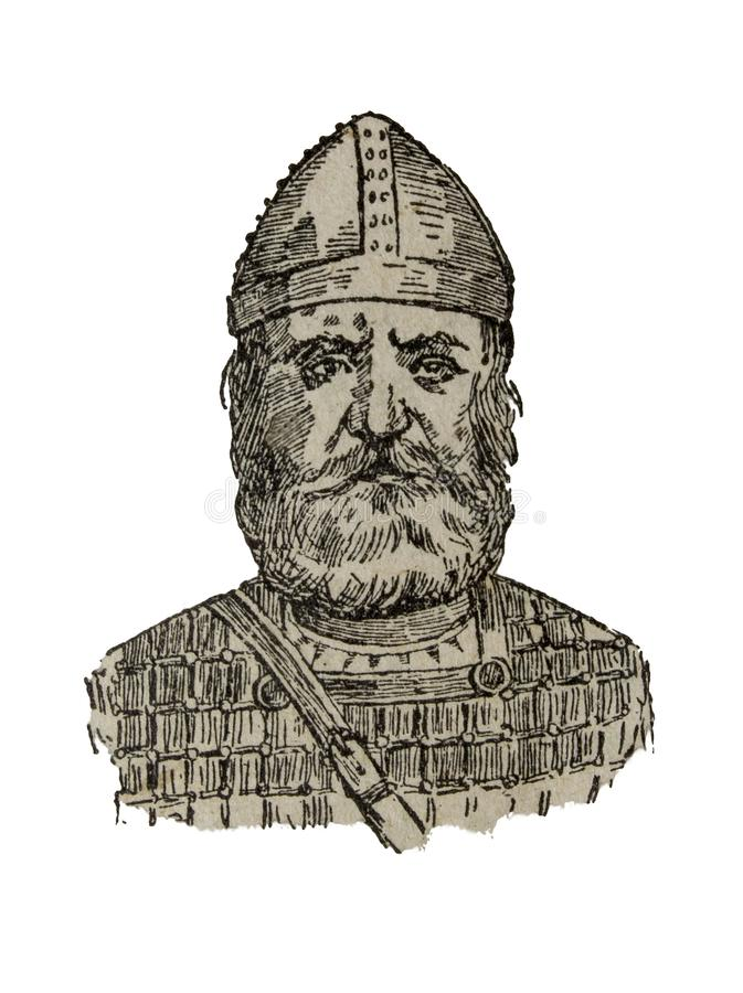 Depiction of Fernan Gonzalez, count of Castile. Badajoz, Spain - Jan 7th, 2019: Vintage depiction of Fernan Gonzalez, count of Castile. Draw from book vector illustration