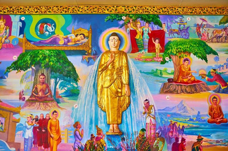 Depiction of Lord Buddha`s life, Chaukhtatgyi Temple, Yangon, My royalty free stock photo
