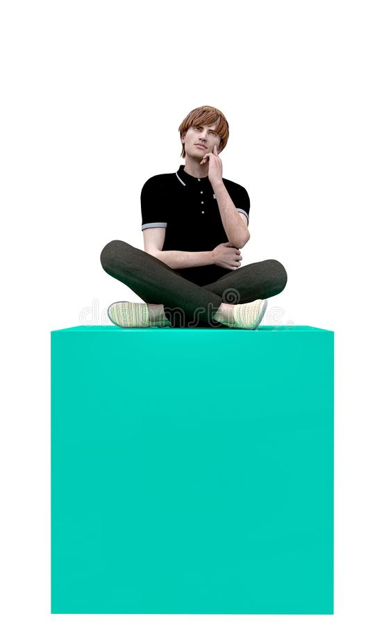 Depiction of the think outside the box concept stock image